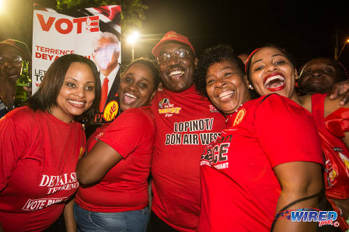 Photo: PNM supporters celebrate the September 7 election results at Balisier House. (Courtesy Allan V Crane/Wired868)