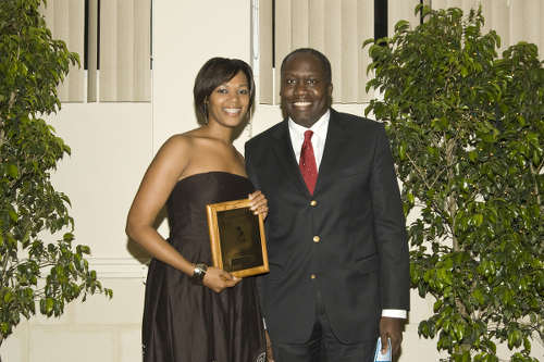 Photo: Public Administration and Communications Minister Maxie Cuffie (right) poses with journalist Charleen Stuart at the GISL Media Awards.