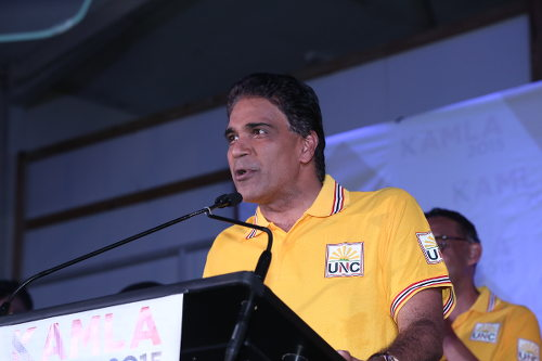 Photo: Opposition MP Roodal Moonilal speaking on the campaign trail. Mouth open and story jump out? (Courtesy Elections.tt)