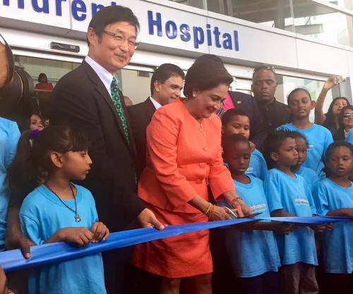 Photo: Former prime minister Kamla Persad-Bissessar opens the Couva Children's Hospital. (Courtesy 103FM)