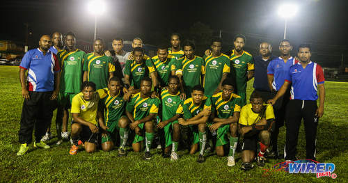 Photo: The Barrackpore United football club. Standing (from right) Josh Dhanesar (chairman), Kirwin Weston (assistant coach), Rajesh Latchoo (technical director) and Dwane James. (Courtesy Chevaughn Christopher/Wired868)