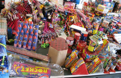 Photo: Fireworks are on sale throughout the country around Divali and New Year's Day.