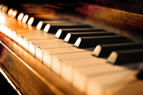 Photo: Piano keys.