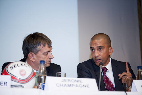 Photo: FIFA presidential hopefuls David Nakhid (right) and Jerome Champagne share the stage during the 2015 Play The Game conference in Aarhus, Denmark in October. Nakhid's candidacy was subsequently declared invalid by the FIFA Ad-hoc Electoral Committee. (Copyright Thomas Søndergaard/Play The Game)