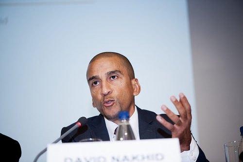 Photo: Former Trinidad and Tobago football captain David Nakhid speaks at the 2015 Play The Game conference in Aarhus, Denmark. (Copyright Thomas Søndergaard/Play The Game)