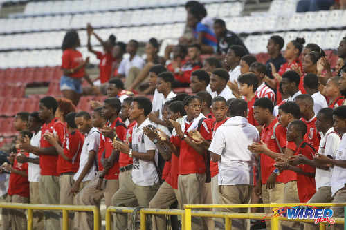 Photo: St Anthony's College students get behind their team during the 2015 North Zone Intercol final against St Mary's College at the Hasely Crawford Stadium. (Courtesy Nicholas Bhajan/Wired868)