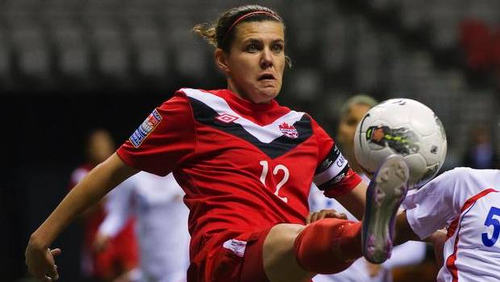 Photo: Canada captain and ace goal scorer Christine Sinclair was among the goals today against Trinidad and Tobago. (Copyright theglobeandmail)