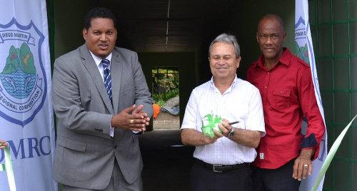 Photo: Sport Minister Darryl Smith (left), Finance Minister Colm Imbert (centre) and former Trinidad and Tobago international hockey goalkeeper Joey Lewis at a sod turning event. (Courtesy DMRCTT)