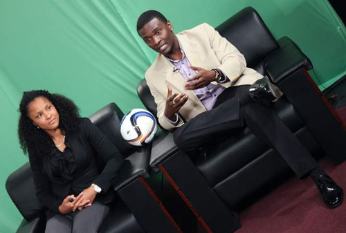 Photo: TBL boss and football agent, Narada Wilson (right), and Trinidad and Tobago women's football star Maylee Attin-Johnson.