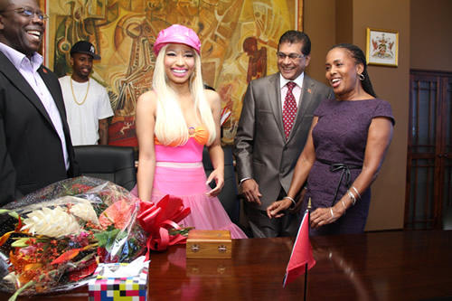 Photo: Former Arts and Multiculturalism Minister Dr Lincoln Douglas (far left) and Trinidad-born US rapper Nicki Minaj (centre). The UNC-led Government spent over TT$800,000 for Minaj to perform at the Localise Itt concert in 2010.