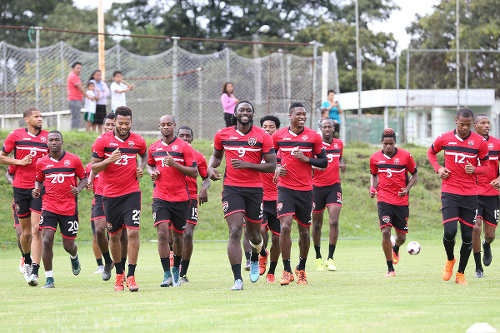 Photo: The Trinidad and Tobago National Senior Team trains in Guatemala City, ahead of their opening Russia 2018 World Cup qualifier against Guatemala. (Copyright Allan V Crane/CA-images/KJ Media)