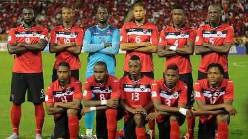Photo: The Trinidad and Tobago National Senior Team players pose before kick off against the United States on November 17 in 2018 World Cup qualifying action. (Courtesy TTFA Media)