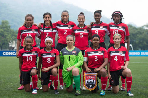 Photo: The Trinidad and Tobago Women's National Under-20 Team pose before kick off against Honduras in the 2015 CONCACAF Under-20 Championship in San Pedro Sula. (Copyright MexSport/CONCACAF)