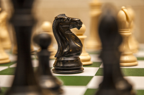 Photo: A black knight on a chess board.