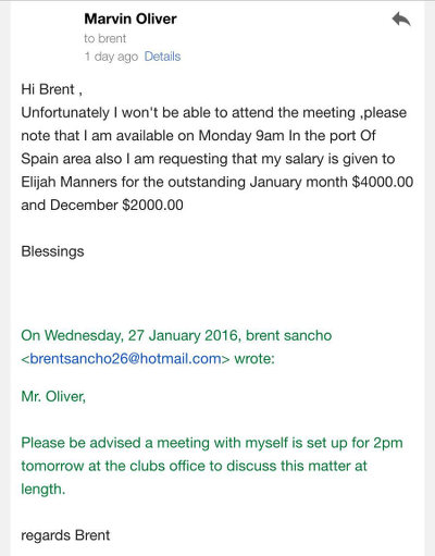 Photo: Ex-Central FC star Marvin Oliver declines the request to meet his former managing director, Brent Sancho, at the club's headquarters in Chaguanas and makes a counter-proposal.