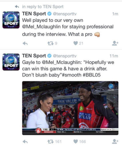 Photo: Chris Gayle was not the only one to get in a muddle over Mel McLaughlin. The Channel 10 social media team was not sure whether to praise Gayle or their own employee after the incident.