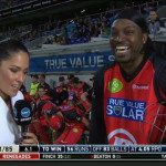 Eye of the Tiger: Gayle sparks outrage with swing and miss at Aussie presenter
