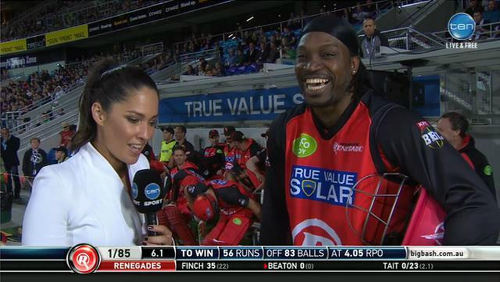 Photo: Awk-ward... Australian television presenter Mel McLaughlin (left) has little trouble dispatching Chris Gayle's pitiful pick-up line.