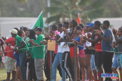 Photo: Guaya United supporters get behind their team during 2015/16 CNG National Super League action against Defence Force yesterday in Guayaguare. (Courtesy Nicholas Bhajan/Wired868)