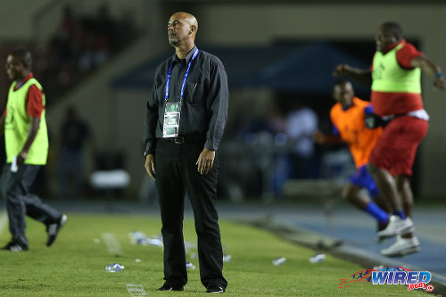 Photo: Trinidad and Tobago coach Stephen Hart reacts to the final whistle in the 2016 Copa America play off contest at the Rommel Fernandez Stadium, Panama City on 8 January 2016. (Courtesy Allan V Crane/CA-images/Wired868)