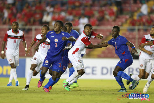 Photo: Trinidad and Tobago defender Mekeil Williams (centre) prepares to attack a corner kick against Haiti during the 2016 Copa America play off contest at the Rommel Fernandez Stadium, Panama City. (Courtesy Allan V Crane/CA-images/Wired868)