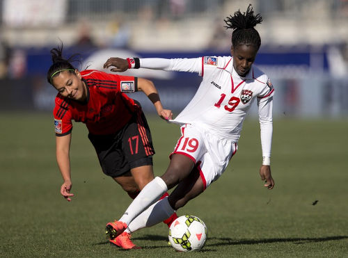 "Photo: Trinidad and Tobago attacker Kennya ""Yaya"" Cordner tries to escape from Mexico player Veronica Perez during the 2014 CONCACAF Women's Championship. (Copyright AFP 2016)"