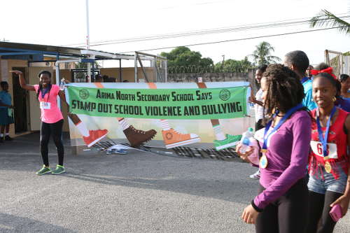 Photo: Arima North Secondary make a stance against bullying and school violence. (Courtesy Arima North Secondary)