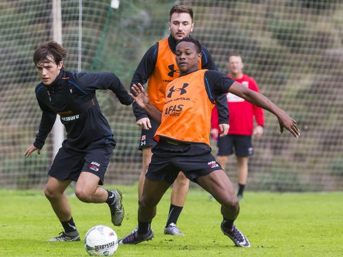 Photo: Trinidad and Tobago teenager Levi Garcia (right) practises with Netherlands top flight club, AZ Alkmaar.