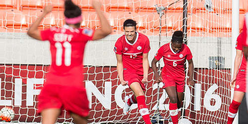Photo: Canada captain Christine Sinclair (centre) celebrates a historic strike against Trinidad and Tobago yesterday evening. Sinclair scored her 159 international goal, which took her clear of former US star Mia Hamm as the second highest women's scorer of all time. (Courtesy MexSport/CONCACAF)