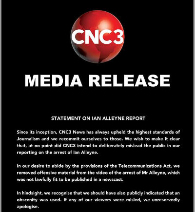 Photo: CNC3's media statement in defence of its coverage of Ian Alleyne's arrest in February 2016. (Courtesy CNC3)
