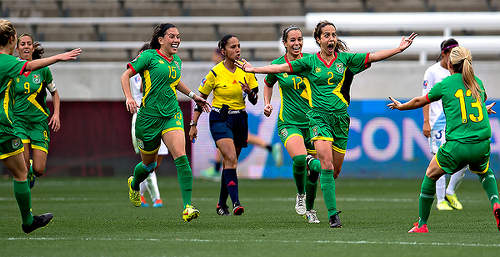 Photo: Guyana defender Alison Heydorne (second from right) celebrates her spectacular game winner against Guatemala with her teammates during CONCACAF 2016 Olympic qualifying action yesterday in Houston. (Courtesy MexSport/CONCACAF)