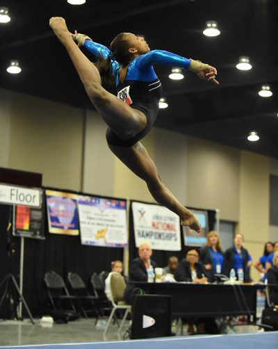 Photo: Khazia Hislop finished first in level 10 of the US gymnastics nationals in 2013 and fifth in 2014. Hislop was set to represent Trinidad and Tobago at the 2014 Commonwealth Games before multiple elbow operations ended her international aspirations. (Courtesy Shaka Hislop)