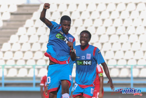 Photo: St Ann's Rangers captain Johan Peltier (left) celebrates his strike against Central FC with teammate Kadeem Hutchinson in Pro League action on 20 February 2016. (Courtesy Chevaughn Christopher/Wired868)