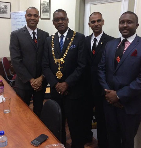 Photo: Former Port of Spain mayor Raymond Tim Kee (second from left) and councillor Farai Hove Masaisai. (Courtesy Farai Hove Masaisai/Facebook)
