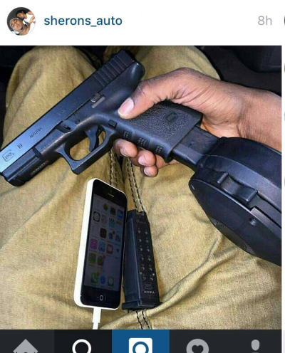 Photo: A photograph of a gun on the Instagram account of Chaguanas businessman Sheron Suhkdeo, who has been charged for domestic violence.