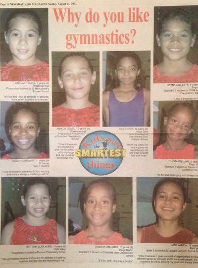 Photo: Trinidad and Tobago gymnast Thema Williams (right column, middle row) declares her passion for gymnastics while at Diamond Vale Government Primary School.