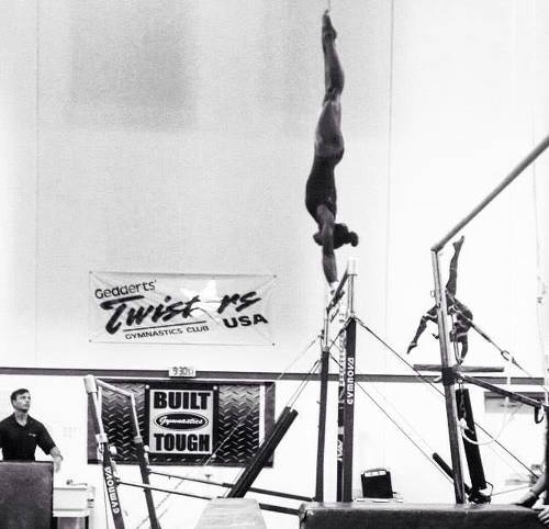 Photo: Trinidad and Tobago gymnast Thema Williams performs a handstand at John Geddert's Twisters Gymnastics Club in Michigan. (Courtesy Thema Williams)