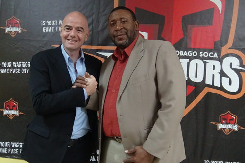 Photo: Trinidad and Tobago Football Association (TTFA) president David John-Williams and UEFA general secretary and FIFA presidential candidate Gianni Infantino at the TTFA headquarters on 27 January 2016. (Courtesy TTFA Media)