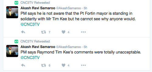 Photo: Tweet from CNC3 journalist Akash Samaroo on Raymond Tim Kee's response to the death of Japanese pannist Asami Nagakiya.