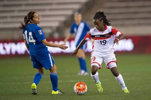 "Photo: Trinidad and Tobago attacker Kennya ""Yaya"" Cordner (right) looks to exploit space behind Guatemala defender Coralia Monterroso during 2016 Olympic qualifying action on Thursday. (Courtesy CONCACAF)"