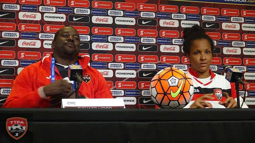 Photo: Trinidad and Tobago Women's National Senior Team head coach Richard Hood (left) and captain Maylee Attin-Johnson at the post-game press conference after Thursday's 2-1 win over Guatemala. (Courtesy CONCACAF)