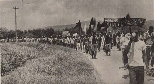 Photo: Trinidad and Tobago citizens march for racial unity on 12 March 1970. (Courtesy Embau Moheni/NJAC)