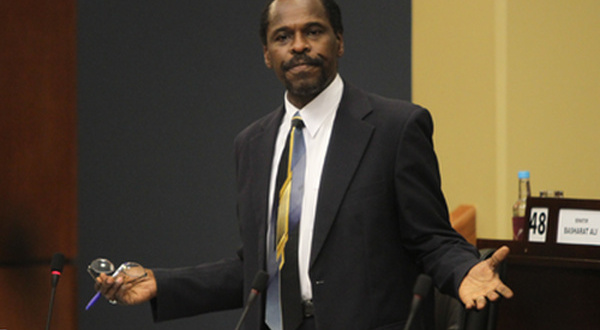 Yes, prime minister: Laventille West MP and wetman, Fitzie, tries to raise a pressing issue