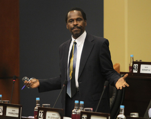 Photo: Minister of Works and Transport Fitzgerald Hinds. (Copyright Power102FM)