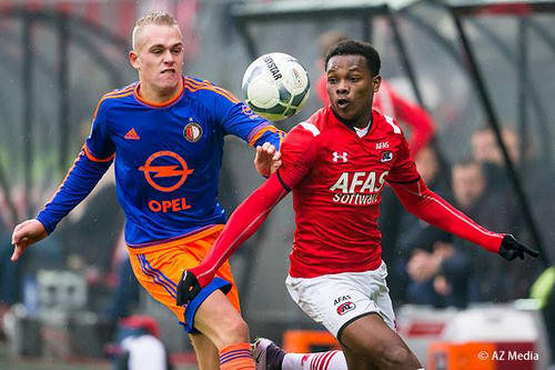 Photo: AZ Alkmaar and Trinidad and Tobago winger Levi Garcia (right) in Eredivisie action against Feyenoord. (Copyright AZ Media)