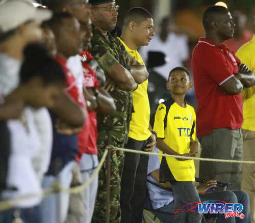 Photo: Fans look on from the sidelines during TT Pro League action between Defence Force and San Juan Jabloteh on 12 March 2016 at the Barataria Recreation Ground. (Courtesy Nicholas Bhajan/Wired868)