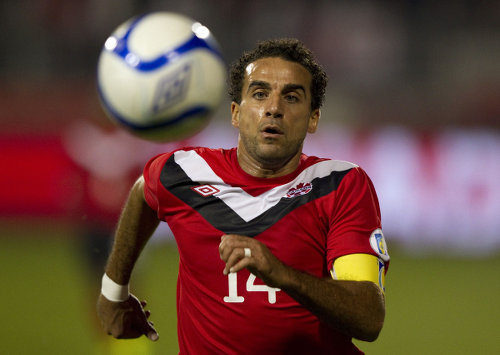 Photo: Canada's Dwayne De Rosario during first half World Cup Qualifying action against Puerto Rico in Toronto on Tuesday 11 October 2011.   (Copyright THE CANADIAN PRESS/Frank Gunn)