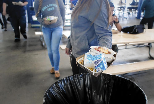 Photo: School children waste food in Los Angeles. (Copyright LA Times)