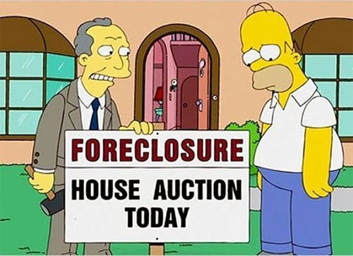Photo: Bank foreclosures are expected in the current recession. (Courtesy The Simpsons)
