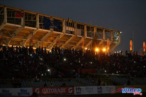Photo: Trinidad and Tobago football fans wait in the darkness before kick off against St Vincent and the Grenadines at the Hasely Crawford Stadium, Port of Spain on 29 March 2016. Trinidad and Tobago won 6-0. (Courtesy: Allan V Crane/CA-images/Wired868)